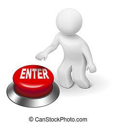 """ボタンの押すこと, """"enter"""", 人, 3d"""
