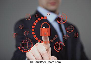 ボタンを押すこと, 事実上, スクリーン, cyber, セキュリティー, ビジネスマン