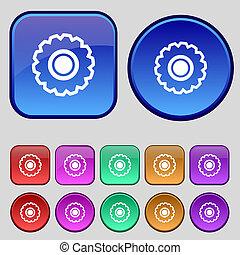 ボタン, あなたの, セット, アイコン, 12, はめば歯車, 印。, 型, design.