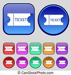 ボタン, あなたの, セット, アイコン, 12, 印。, 切符, 型, design.