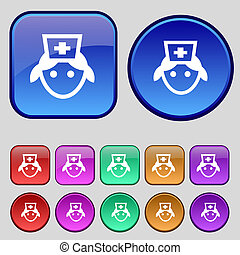 ボタン, あなたの, セット, アイコン, 12, 印。, 型, design., 看護婦