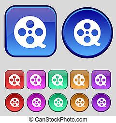 ボタン, あなたの, フィルムセット, アイコン, 12, 印。, 型, design.