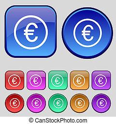 ボタン, あなたの, ユーロ, セット, アイコン, 12, 印。, 型, design.
