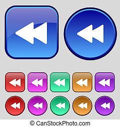 ボタン, あなたの, 巻き戻し, セット, アイコン, 12, 印。, 型, design.