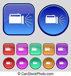 ボタン, あなたの, 懐中電燈, アイコン, セット, 12, 印。, 型, design.
