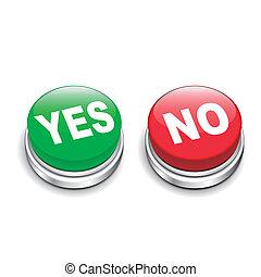 ボタン, はい, 3d, イラスト, いいえ