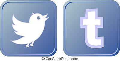 ボタン, アイコン, シンボル, 鳥