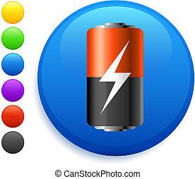 ボタン, アイコン, ラウンド, 電池, インターネット