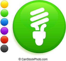 ボタン, アイコン, ラウンド, 電球, ライト, インターネット, 蛍光