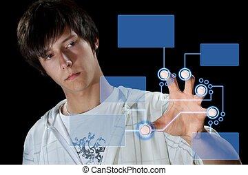 ボタン, アイロンかけ, 人, デジタル