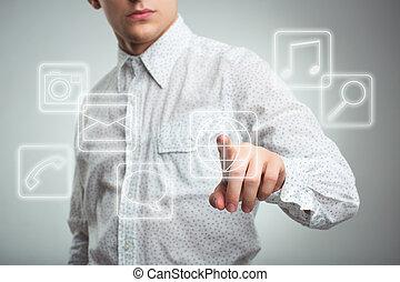 ボタン, アイロンかけ, 若い, 適用, コンピュータ, t, ビジネスマン