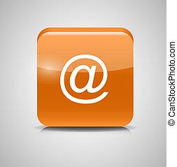 ボタン, イラスト, ガラス, ベクトル, メール, icon.