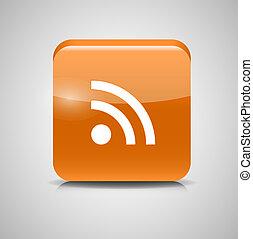 ボタン, イラスト, ガラス, ベクトル, icon., rss