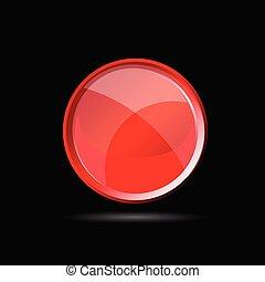 ボタン, イラスト, ベクトル, 黒, グロッシー, 赤