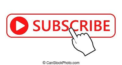ボタン, イラスト, 予約購読しなさい, ベクトル, icon., クリック