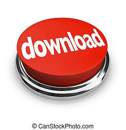 ボタン, インターネット, ラウンド, オンラインで, ダウンロード, 順序, 赤