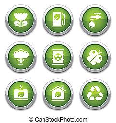 ボタン, エコロジー, 緑