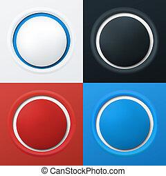 ボタン, カラフルである, 3d