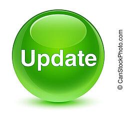 ボタン, ガラス状, 緑, 更新, ラウンド