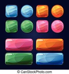 ボタン, ガラス, ゲーム, ベクトル, ui, ユーザインタフェース, 漫画