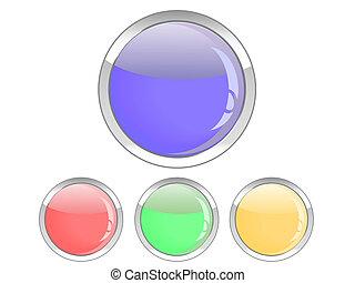 ボタン, グロッシー, カラフルである