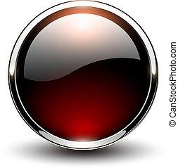 ボタン, グロッシー, 赤