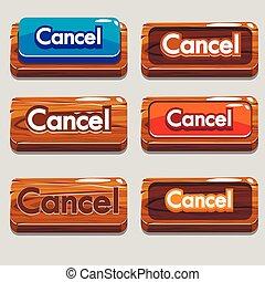 ボタン, ゲーム, 取り消し, 漫画, 木