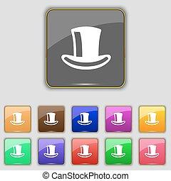 ボタン, シリンダー, セット, 有色人種, 印。, サイト。, 11, ベクトル, 帽子, あなたの, アイコン