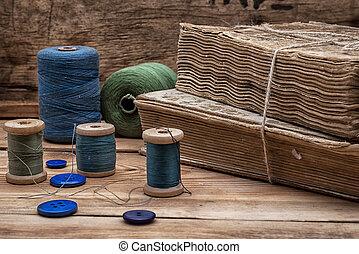 ボタン, スプール, 糸, 裁縫
