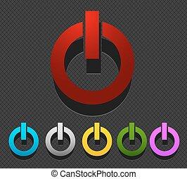ボタン, セット, カラフルである, 力