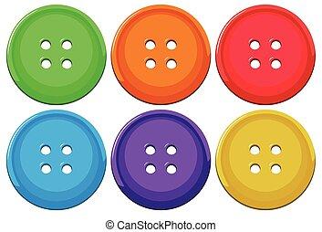 ボタン, セット, カラフルである
