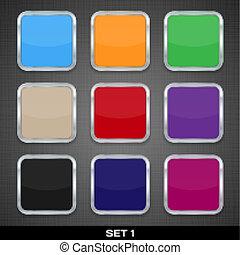 ボタン, セット, カラフルである, app, ベクトル, backgrounds., アイコン, テンプレート, 1.