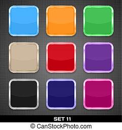 ボタン, セット, カラフルである, app, 11., ベクトル, backgrounds., テンプレート, アイコン