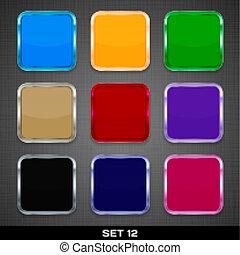ボタン, セット, カラフルである, app, 12., ベクトル, backgrounds., テンプレート, アイコン