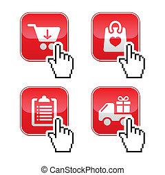ボタン, セット, カーソル, 買い物