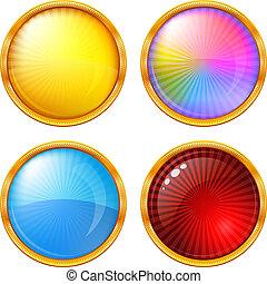 ボタン, セット, ラウンド, カラフルである