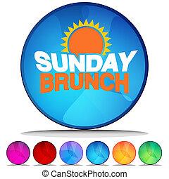 ボタン, セット, 光沢がある, 日曜日, ブランチ