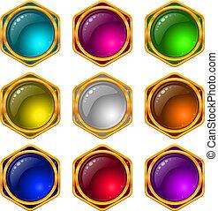 ボタン, セット, 宝石, ラウンド