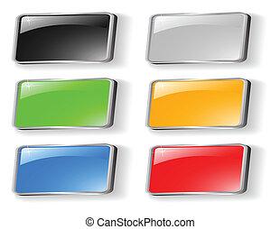 ボタン, セット, 有色人種, ベクトル