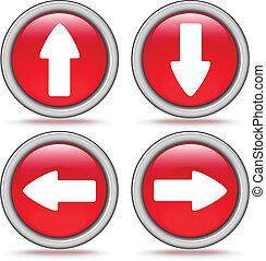 ボタン, セット, 矢