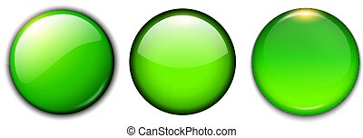 ボタン, セット, 緑