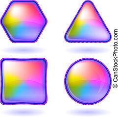 ボタン, セット, 虹, アイコン