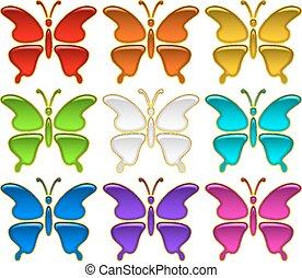 ボタン, セット, 蝶, カラフルである