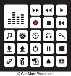 ボタン, セット, 音楽, アイコン