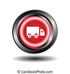 ボタン, トラック, ラウンド, 赤, アイコン