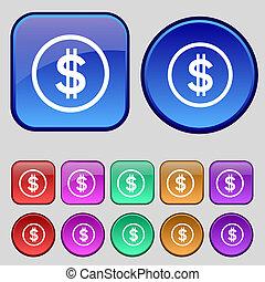 ボタン, ドル, あなたの, セット, アイコン, 12, 印。, 型, design.