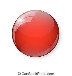 ボタン, ベクトル, イラスト, 赤