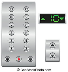 ボタン, ベクトル, エレベーター, パネル