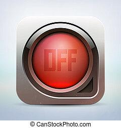 ボタン, ベクトル, グロッシー, 力, 金属