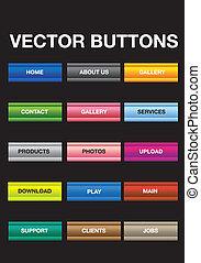 ボタン, ベクトル, セット, イラスト
